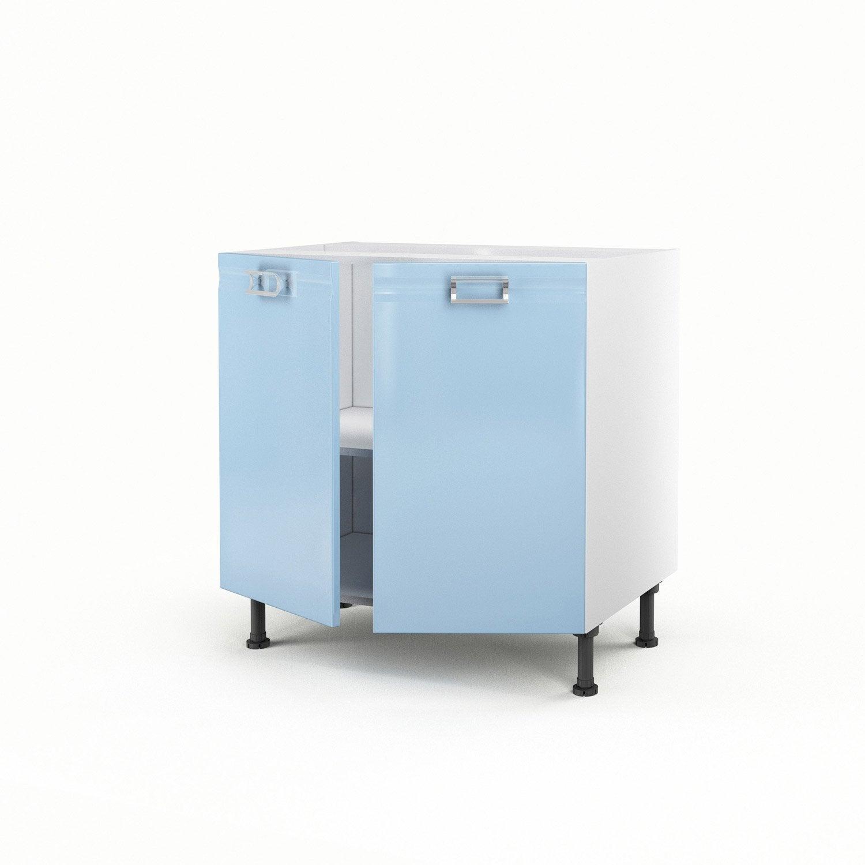 Meuble De Cuisine Bas Bleu 2 Portes Crystal H70xl80xp56