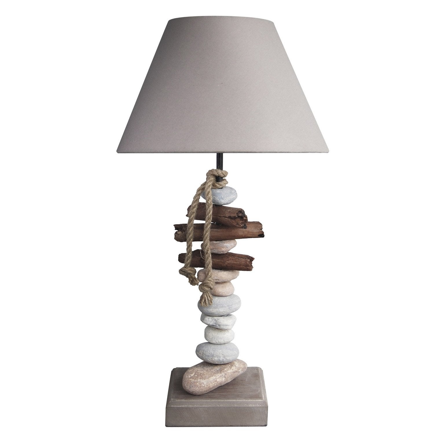 Lampe benodet seynave coton naturel 60 w leroy merlin - Table de chevet leroy merlin ...