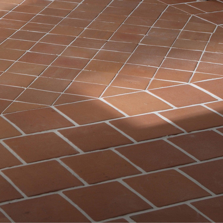Terre cuite sol et mur rose foncé effet pierre Rairies origine l.16 x L.16 cm | Leroy Merlin