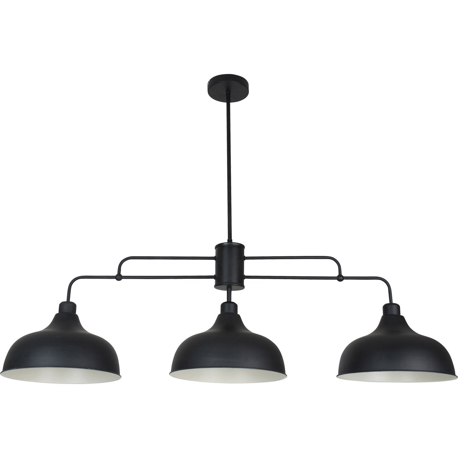 Suspension industriel lincoln m tal noir 3 x 40 w corep for Suspension luminaire noir et or