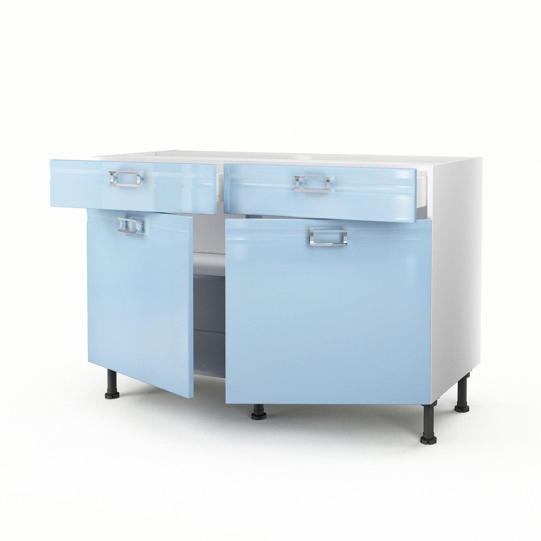meuble de cuisine bas bleu 2 portes 2 tiroirs crystal h70xl120xp56 cm leroy merlin. Black Bedroom Furniture Sets. Home Design Ideas