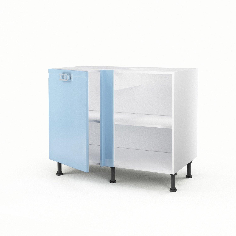 Meuble de cuisine bas d 39 angle bleu 1 porte crystal x x cm - Meuble bas angle cuisine leroy merlin ...