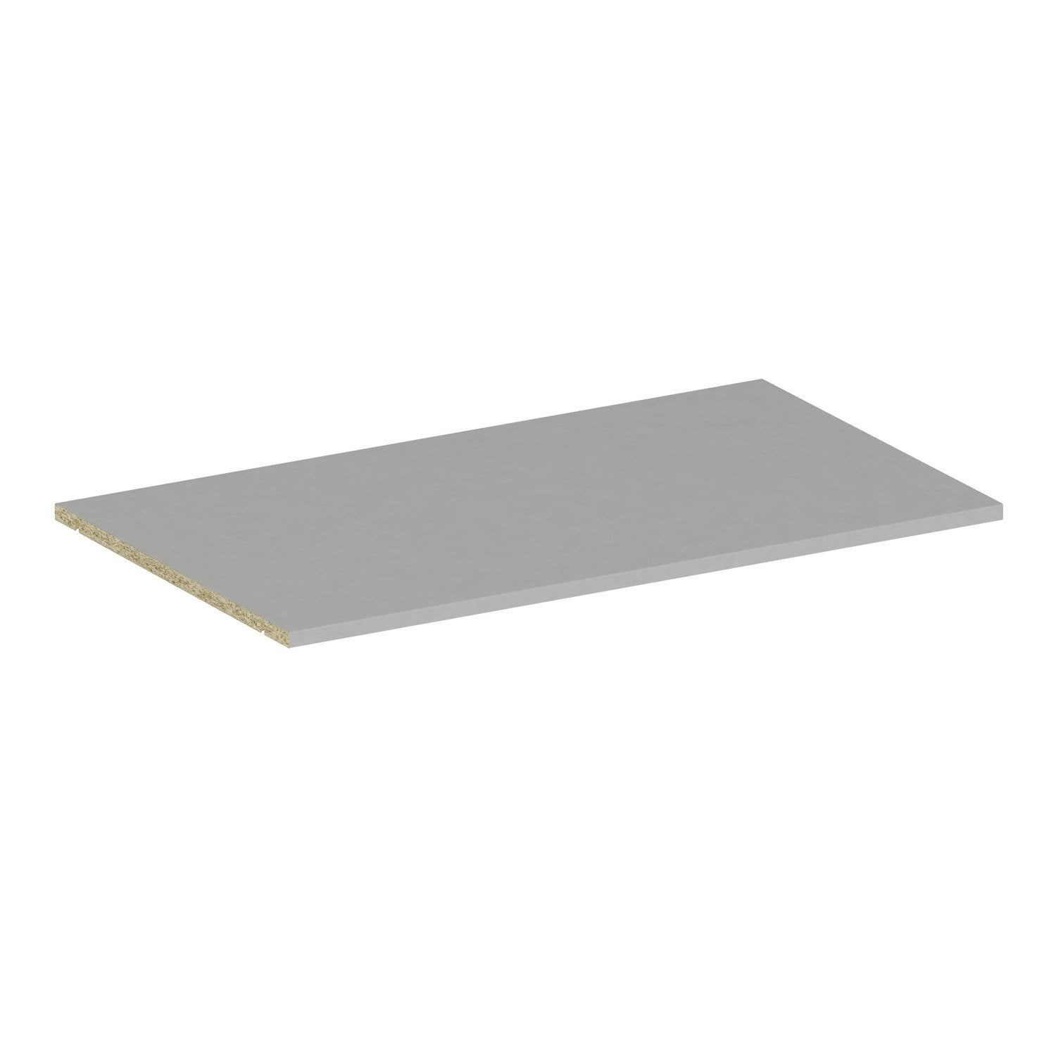 Tablette gris spaceo home x x p 1 6 cm leroy for Tablette spaceo leroy merlin