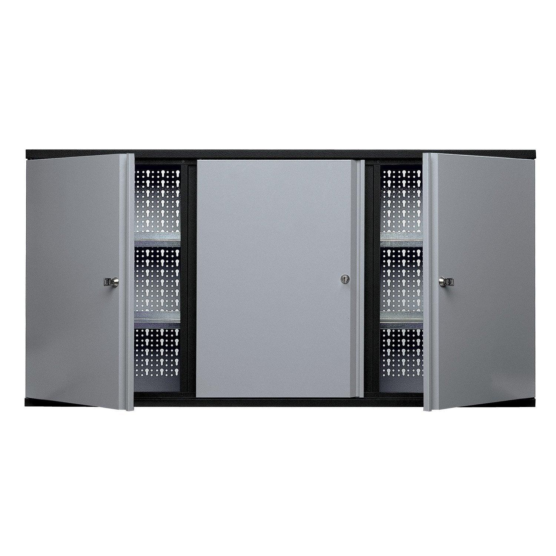Armoire de rangement en métal gris clair KUPPER 120 cm 3 portes