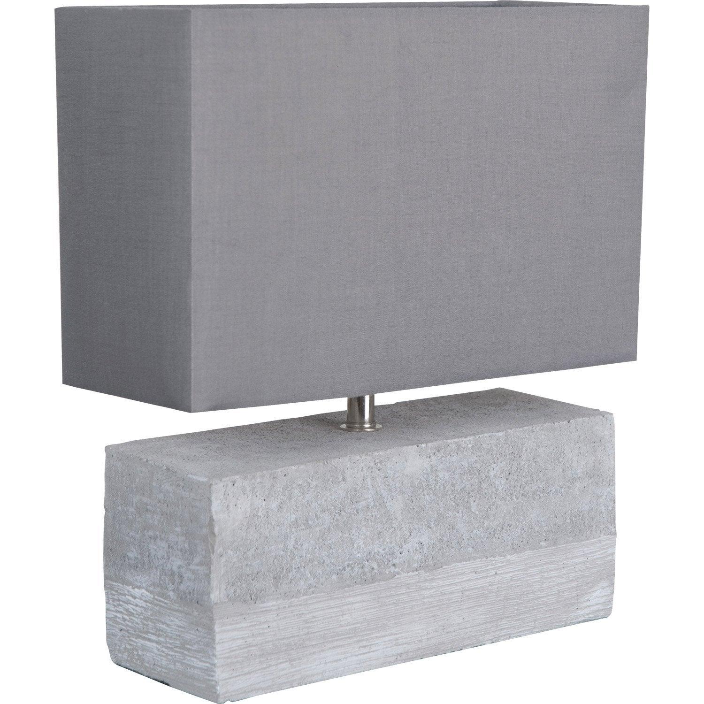 lampe e14 brik corep coton sur pvc gris 40 w leroy merlin. Black Bedroom Furniture Sets. Home Design Ideas