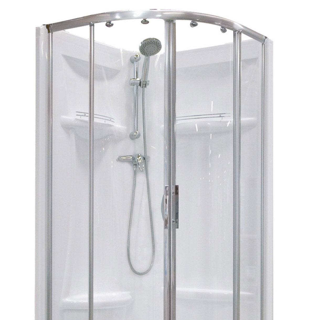 Cabine de douche 1 4 de cercle 90x90 cm dana leroy merlin - Destockage cabine de douche ...