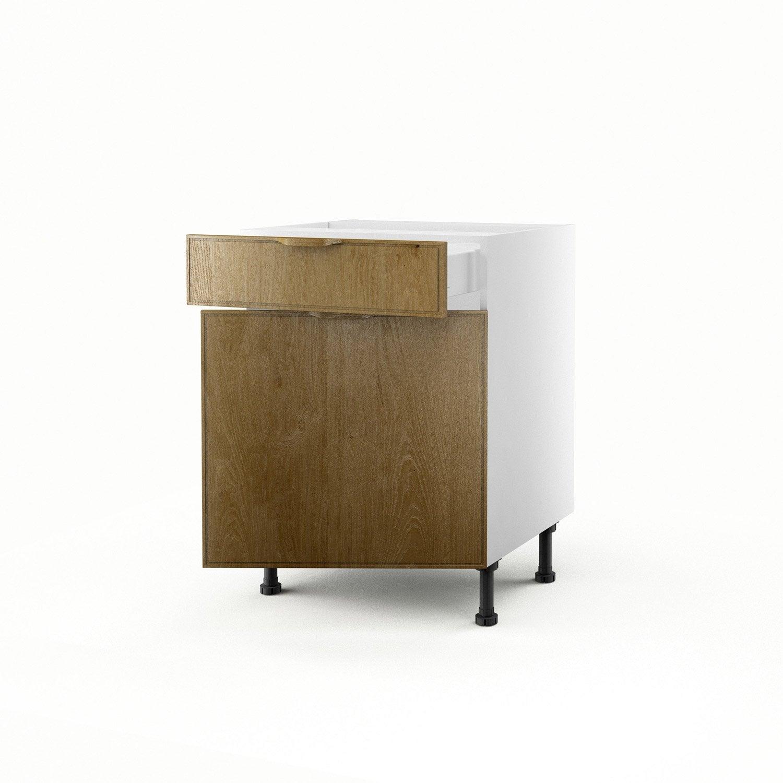 Meuble de cuisine bas ch ne 1 porte 1 tiroir origine h70xl60xp56 cm lero - Leroy merlin origine ...