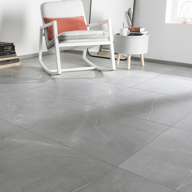 Carrelage sol et mur gris effet marbre rimini x for Peinture carrelage sol leroy merlin