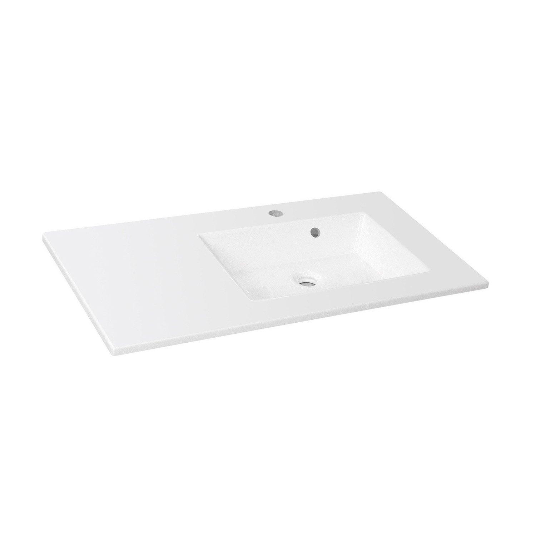 Plan vasque simple modern r sine de synth se 91 cm leroy for Plan vasque leroy merlin