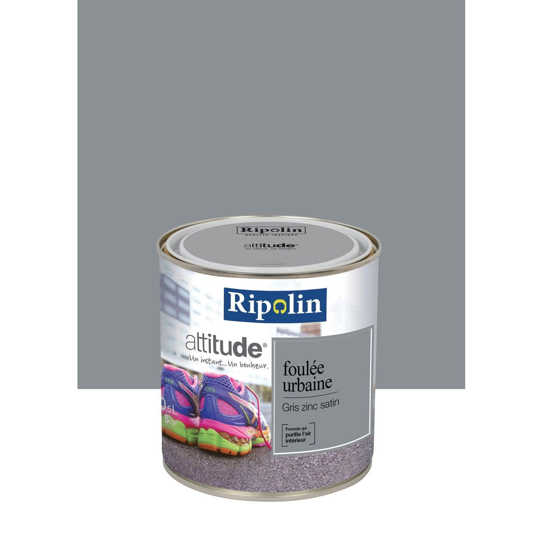 Peinture gris zinc ripolin attitude foul e urbaine 0 5 l leroy merlin for Peinture effet zinc