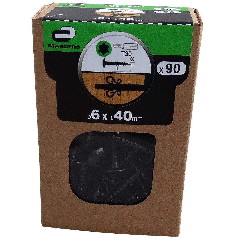 lot de 90 vis acier t te ronde torx standers diam 6 mm x mm leroy merlin. Black Bedroom Furniture Sets. Home Design Ideas