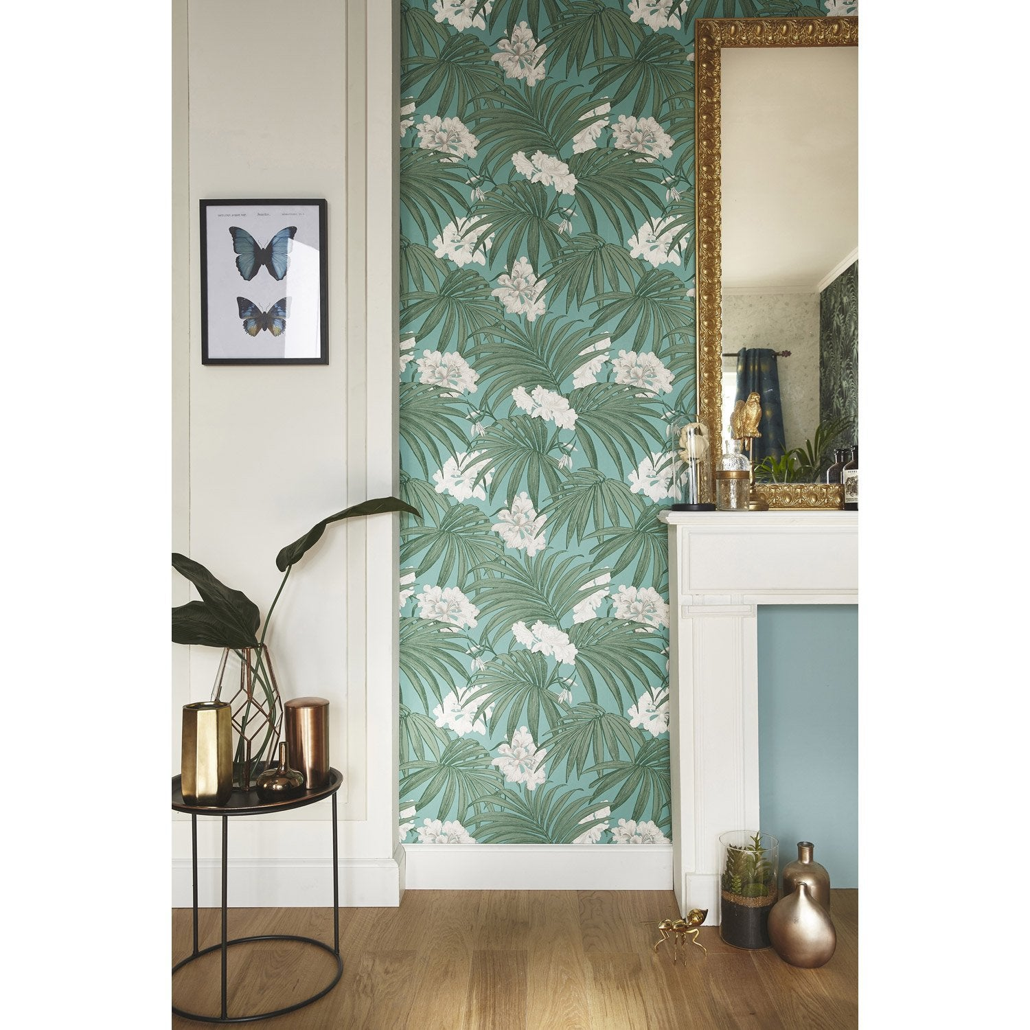 Papier peint intiss palm leaves vert leroy merlin for Ventiladores de pared leroy merlin