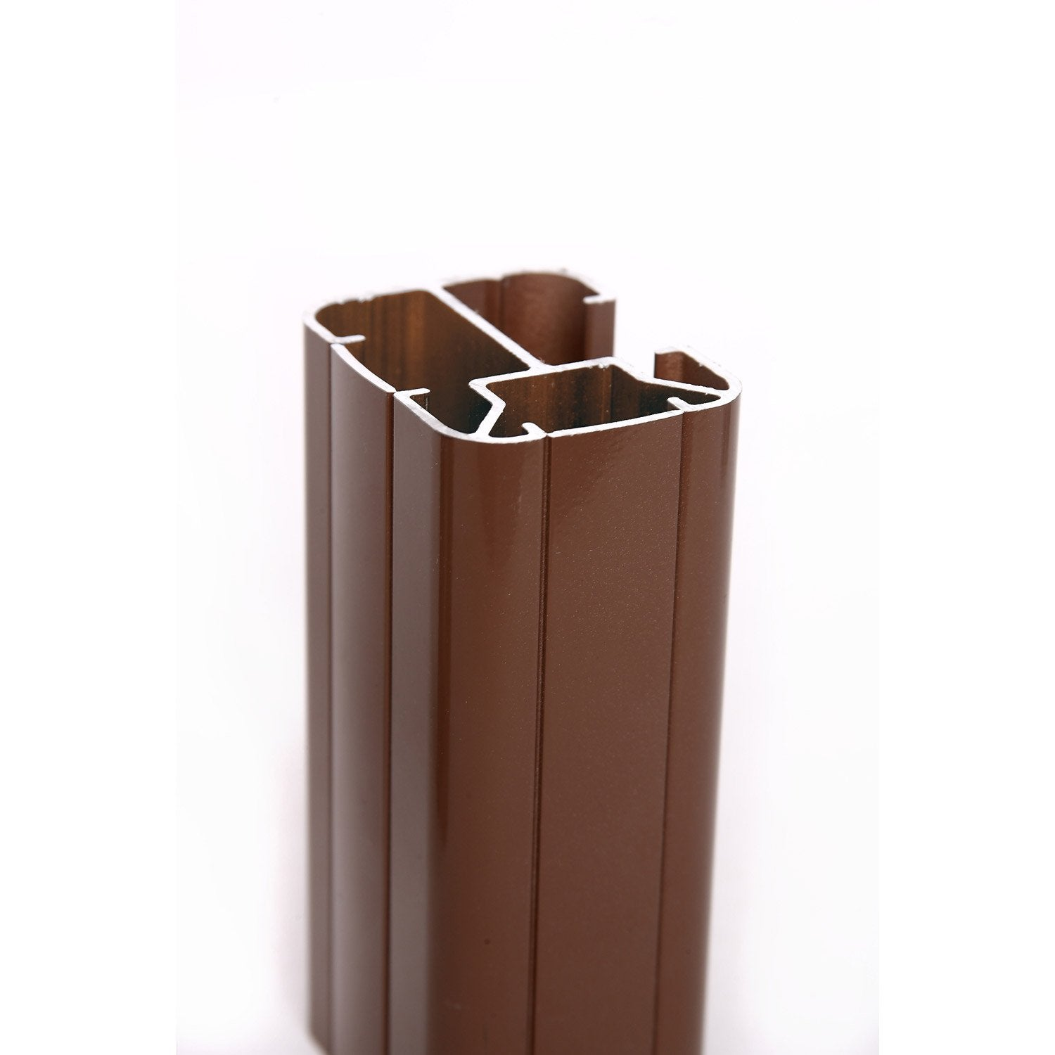 Poteau en h marron en aluminium leroy merlin for Portail pvc marron
