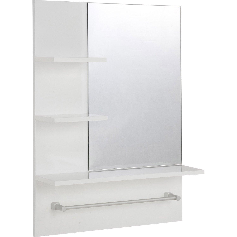 Miroir non lumineux encadr rectangulaire x cm for Miroir etagere