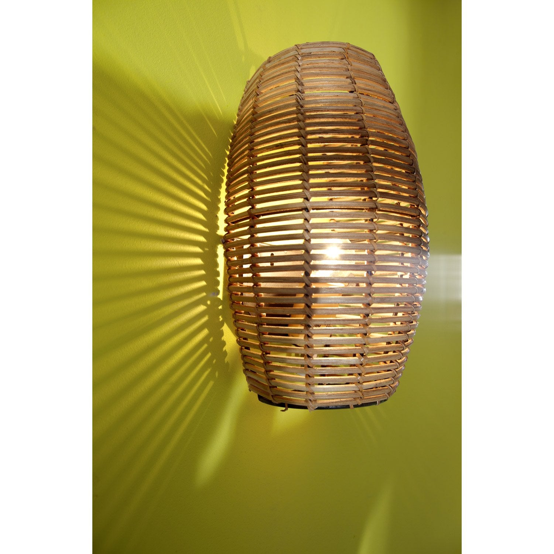 applique bami bambou 1x60w bambou brun inspire leroy. Black Bedroom Furniture Sets. Home Design Ideas