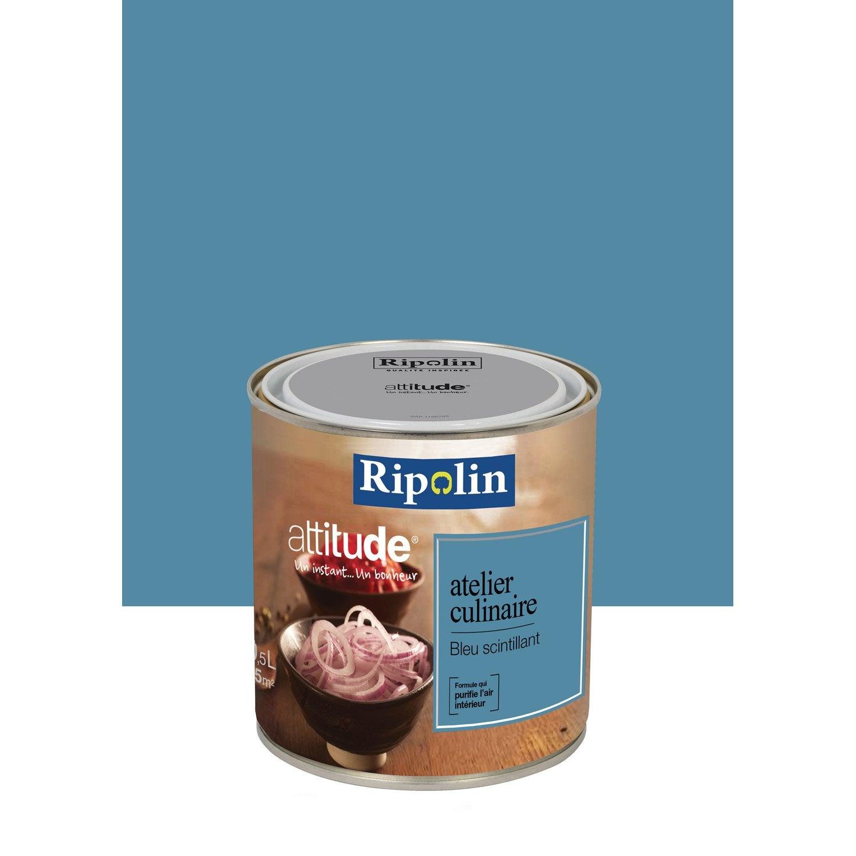 peinture m tallis bleu scintillant ripolin attitude atelier culinaire 0 5 l leroy merlin. Black Bedroom Furniture Sets. Home Design Ideas
