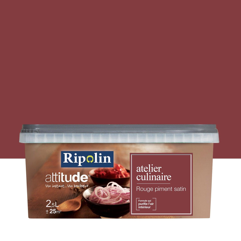 Peinture rouge piment ripolin attitude atelier culinaire 2 5 l leroy merlin for Peinture ripolin attitude