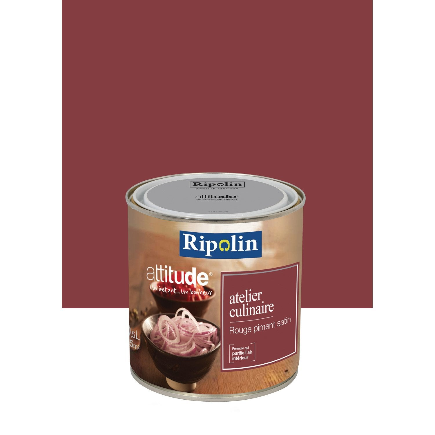 Peinture multisupports attitude atelier culinaire ripolin rouge piment 0 5 l leroy merlin for Peinture ripolin
