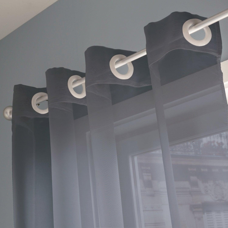 voilage transparent indie gris galet n 3 x cm inspire leroy merlin. Black Bedroom Furniture Sets. Home Design Ideas