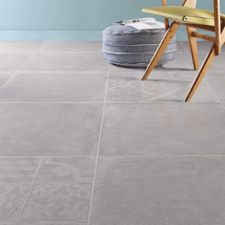 Carrelage sol et mur perle effet b ton cosy x for Carrelage gris clair 60x60