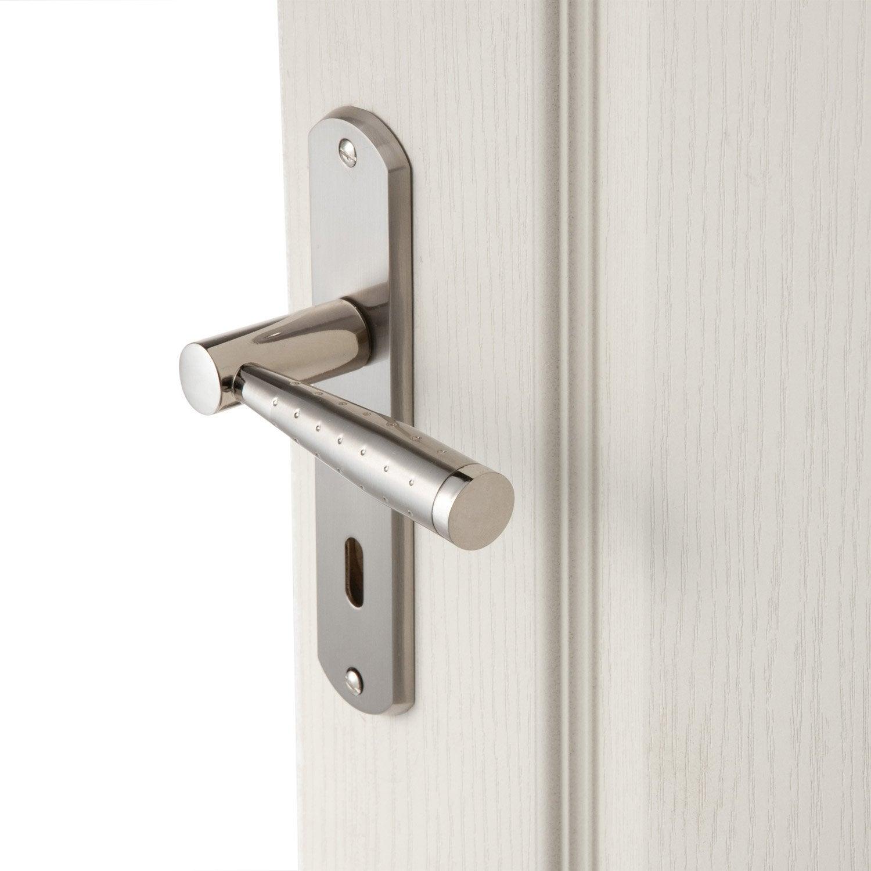 2 poign es de porte nine trou de cl inspire zinc 165 mm leroy merlin - Judas de porte leroy merlin ...