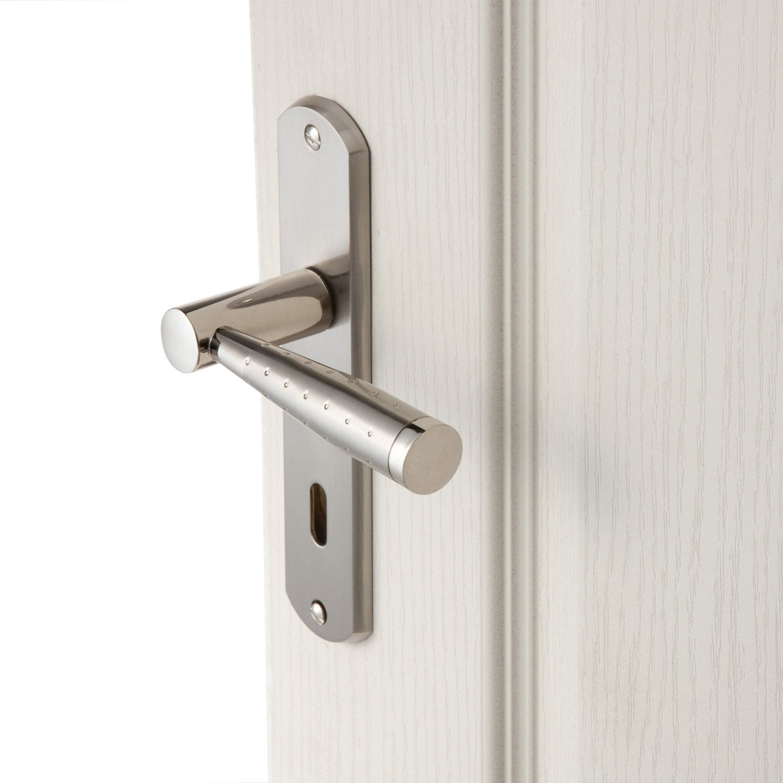 2 poign es de porte nine trou de cl zinc 165 mm leroy for Poignee de porte interieure noire