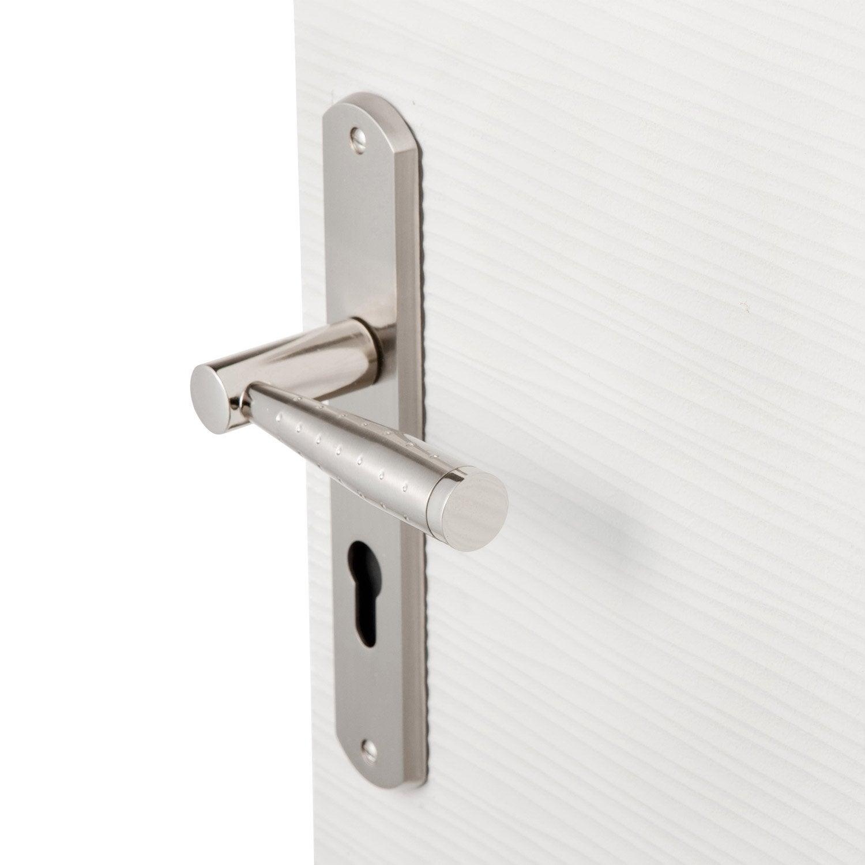 Poign e de porte nine trou de cylindre zinc nickel 195 for Poignee de porte fr