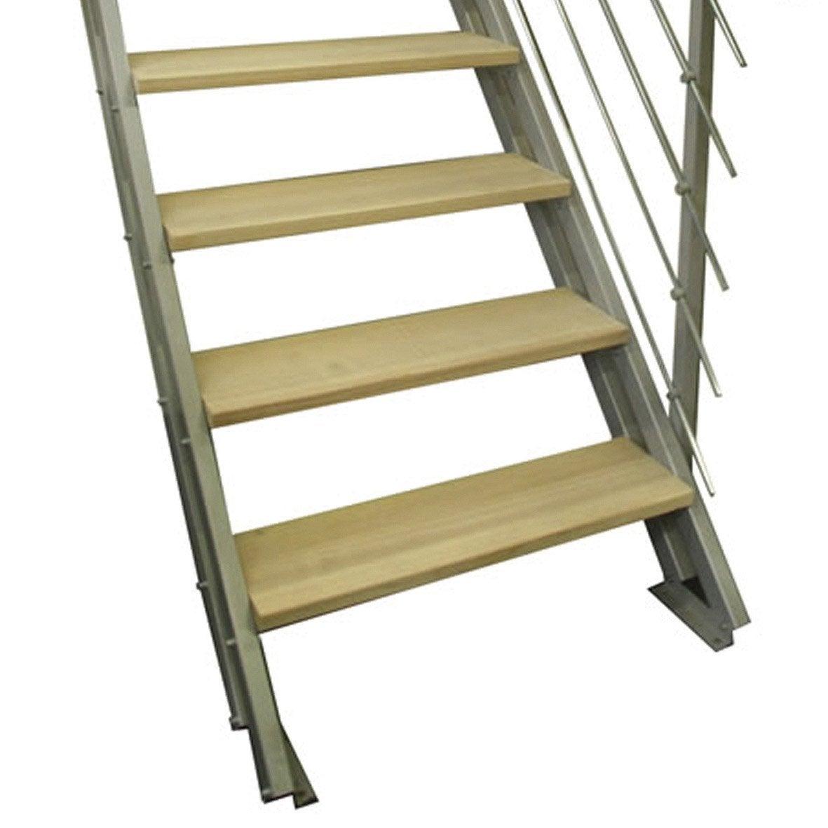 escalier modulaire escavario marches structure acier gris leroy merlin