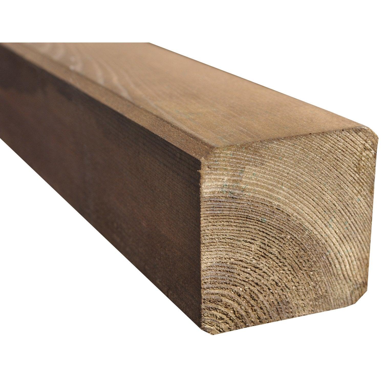Poteau bois carré marron, H240 x l9 x P9 cm  Leroy Merlin