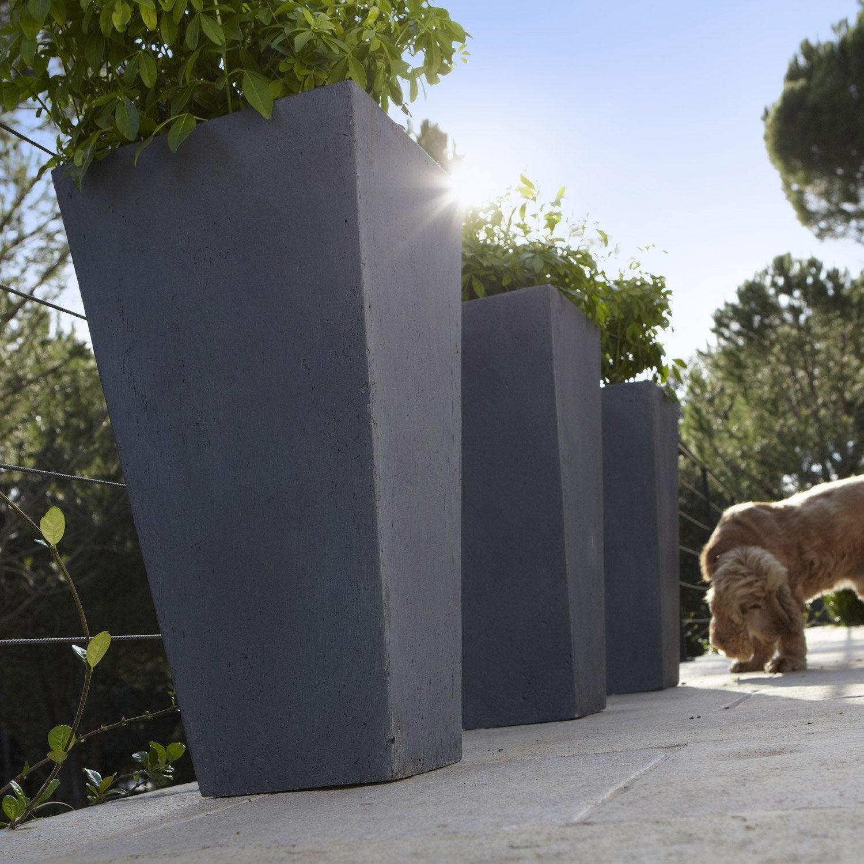 pot en fibre l 32 x h 62 x l 32 cm gris leroy merlin. Black Bedroom Furniture Sets. Home Design Ideas