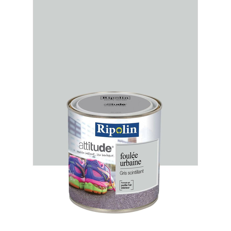 Peinture m tallis gris scintillant ripolin attitude foul e urbaine 0 5 l leroy merlin for Peinture gris violet