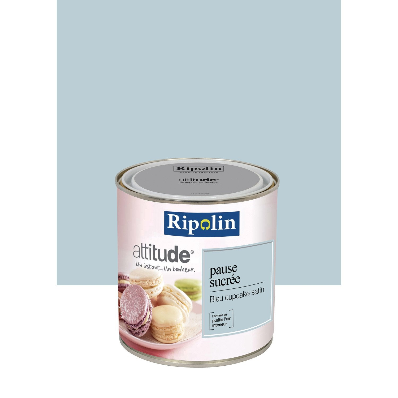 peinture bleu cupcake ripolin attitude pause sucr e 0 5 l leroy merlin. Black Bedroom Furniture Sets. Home Design Ideas