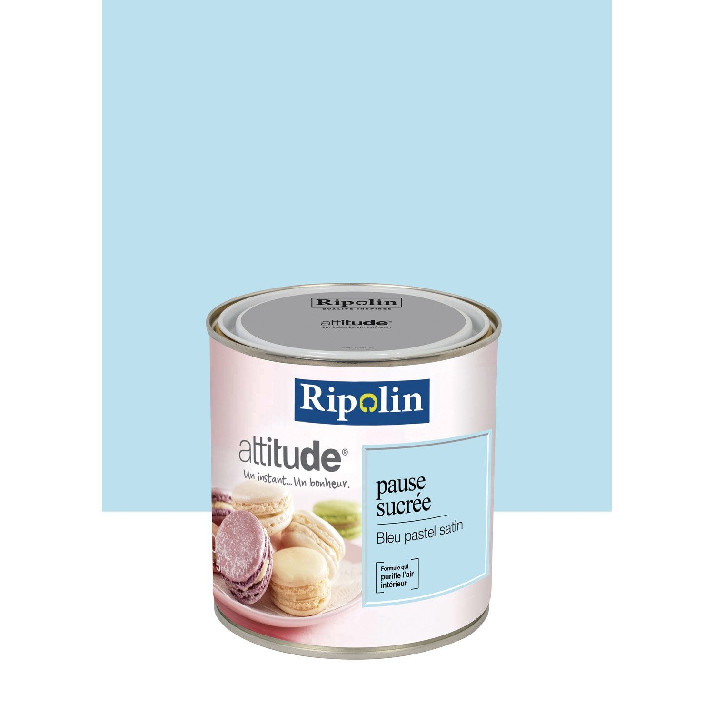 Peinture bleu pastel ripolin attitude pause sucr e 0 5 l leroy merlin for Peinture beige rose