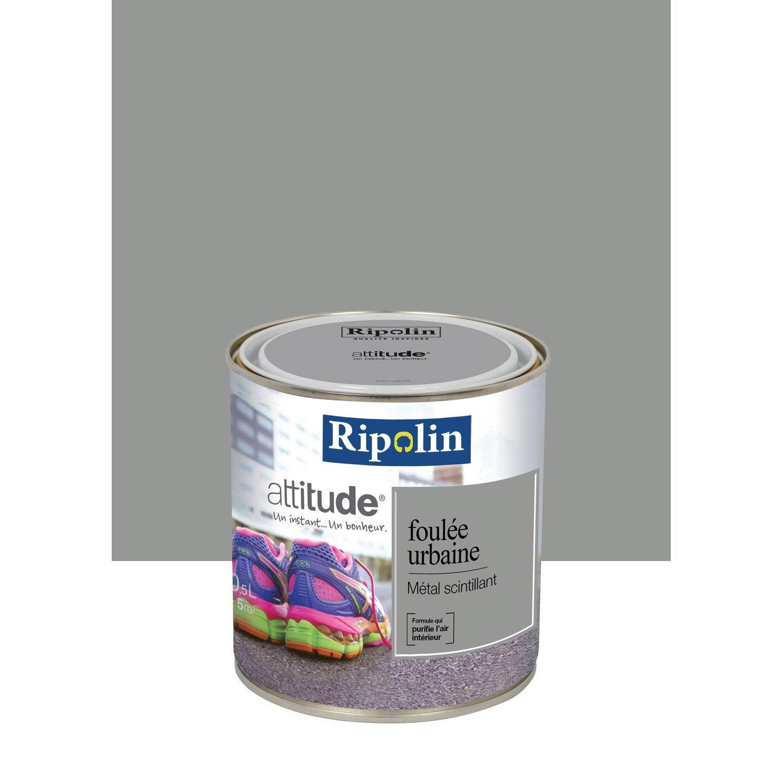 Peinture gris m tal scintillant ripolin attitude foul e urbaine 0 5 l leroy merlin for Peinture murale gris