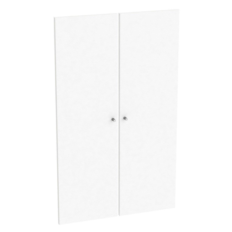 lot de 2 portes battantes spaceo home 100 x 30 x 1 6 cm blanc leroy merlin. Black Bedroom Furniture Sets. Home Design Ideas