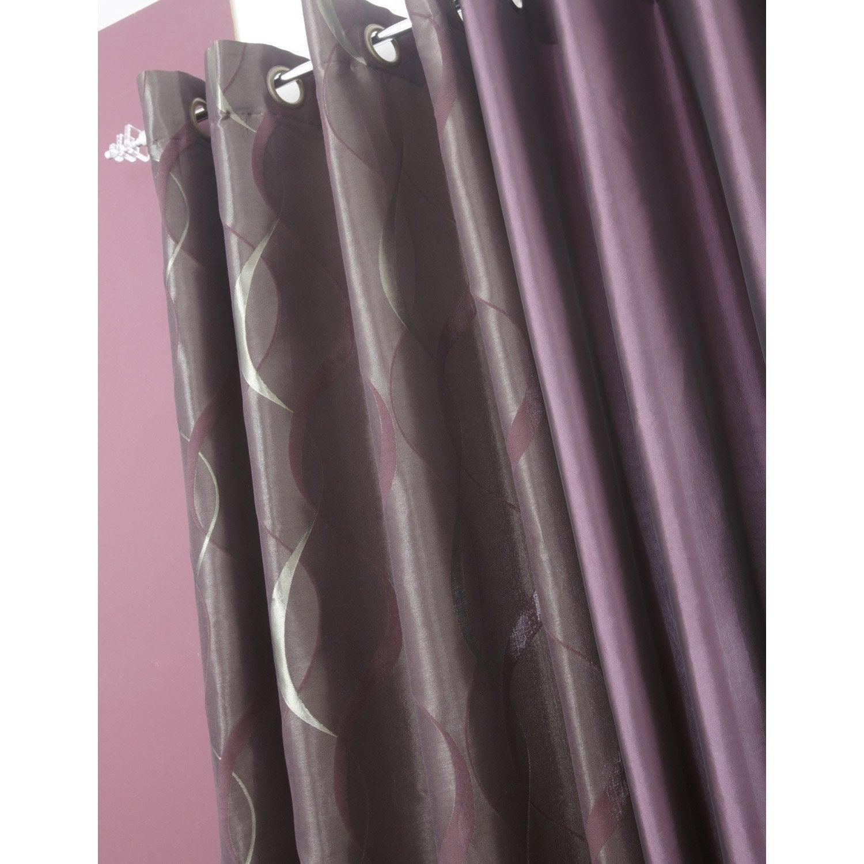 rideau tamisant bengale violet figue n 1 x cm inspire leroy merlin. Black Bedroom Furniture Sets. Home Design Ideas