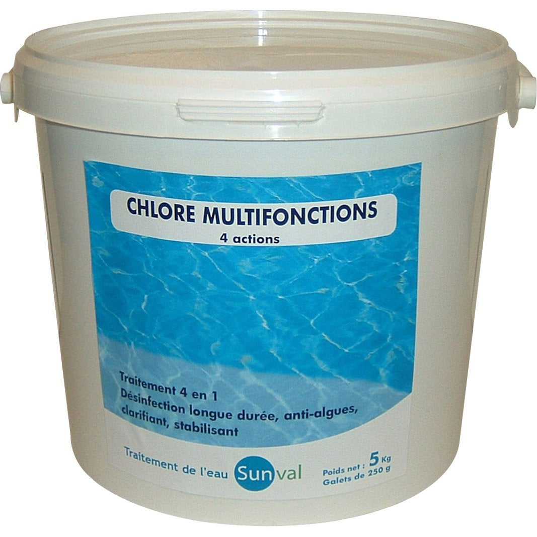 Chlore 4 actions piscine galet 5 kg leroy merlin for Produit piscine