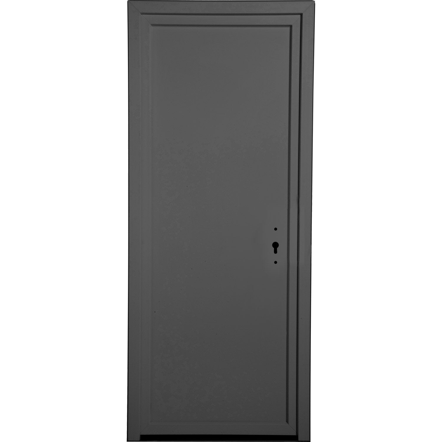porte de service gris anthracite pvc plein h 200 x l 80 cm poussant gauche leroy merlin. Black Bedroom Furniture Sets. Home Design Ideas