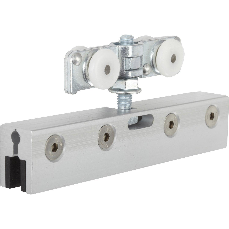Kit de montage acier et plastique pour portes coulissantes for Fixation porte coulissante suspendue