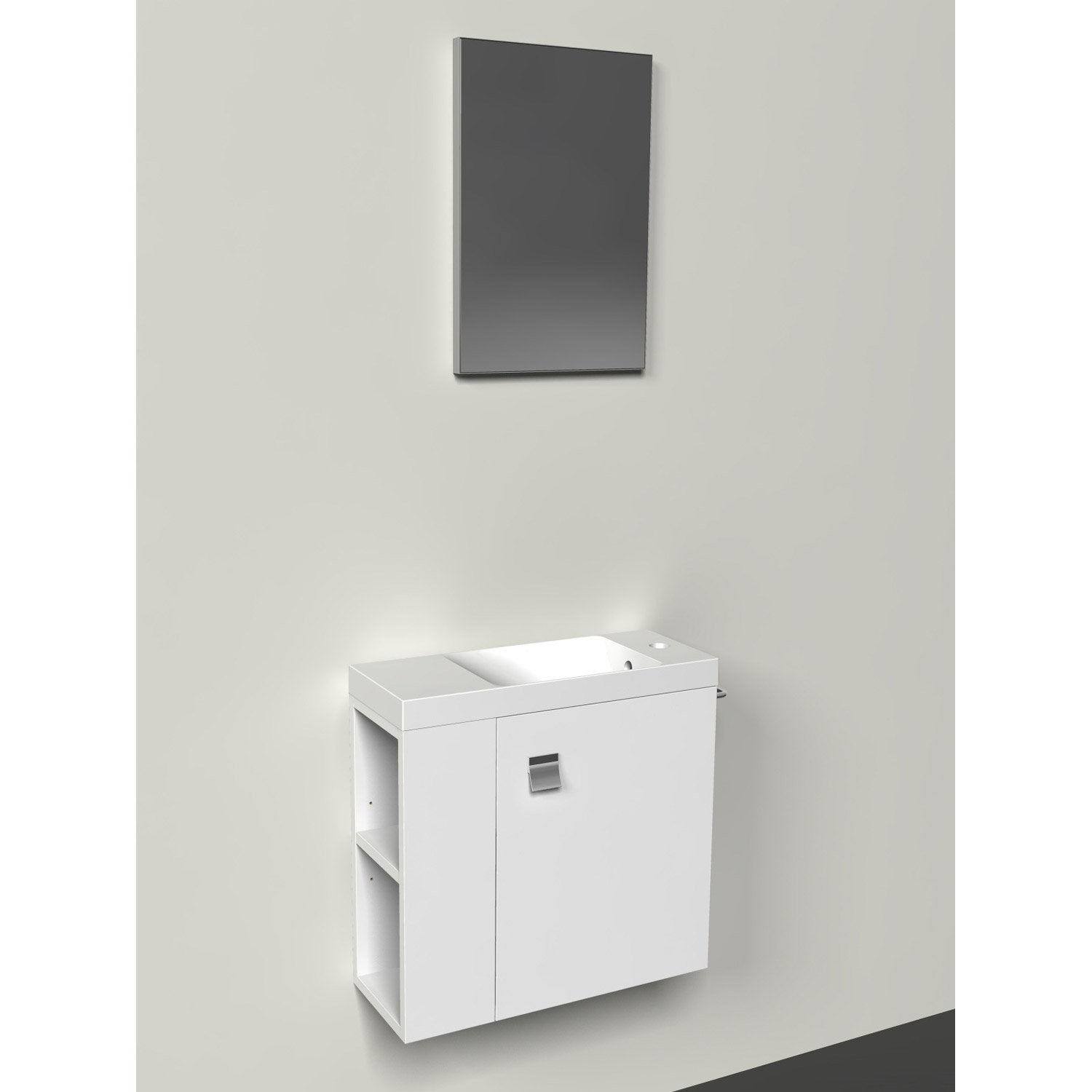 Meuble lave mains avec miroir slim blanc blanc n 0 for Meuble suspendu leroy merlin