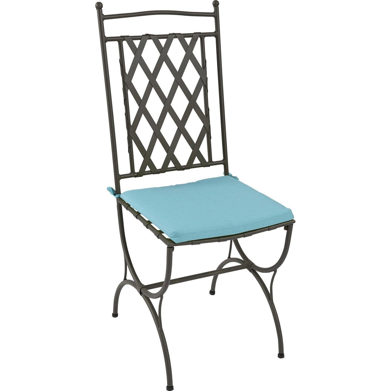 coussin d 39 assise de chaise ou de fauteuil naterial laura uni bleu atoll leroy merlin. Black Bedroom Furniture Sets. Home Design Ideas