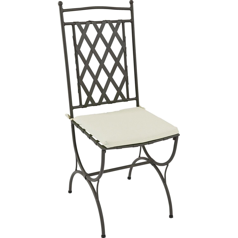 coussin d 39 assise de chaise ou de fauteuil naterial laura uni blanc ivoire leroy merlin. Black Bedroom Furniture Sets. Home Design Ideas