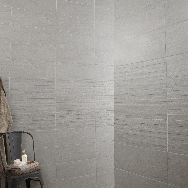 Fa ence mur gris trevise x cm leroy merlin for Salle de bain carrelage vertical