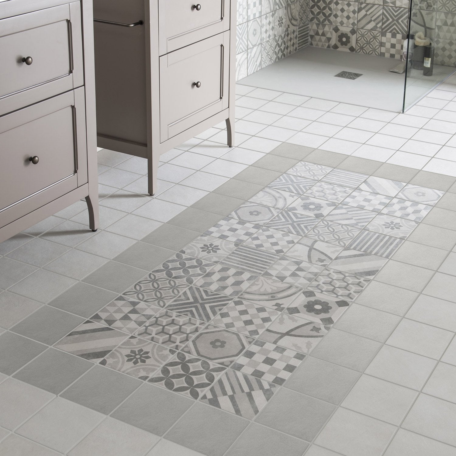 Carrelage sol et mur gris elliot x cm leroy merlin for Lino carreaux de ciment