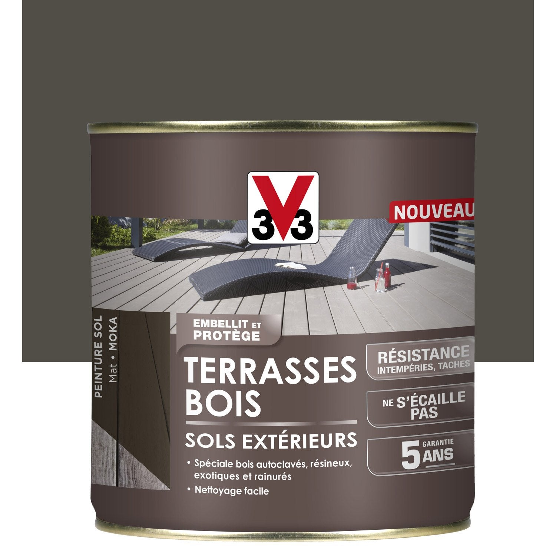 Peinture sol ext rieur terrasse bois v33 moka - Peinture sol exterieur leroy merlin ...