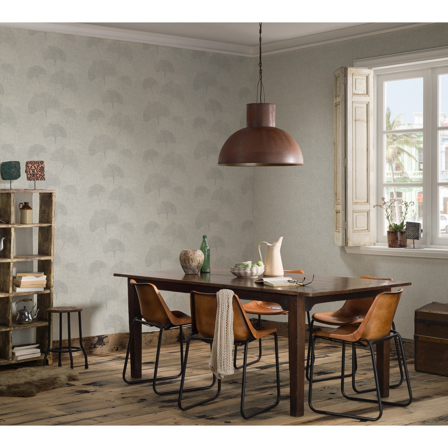 papier peint intiss ginkgo gris clair leroy merlin. Black Bedroom Furniture Sets. Home Design Ideas