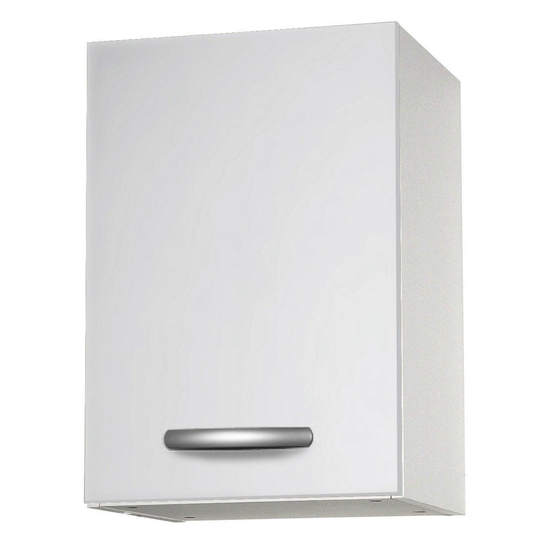 Meuble de cuisine haut 1 porte blanc h57 x l40 x p35 cm - Meuble haut cuisine profondeur 30 cm ...