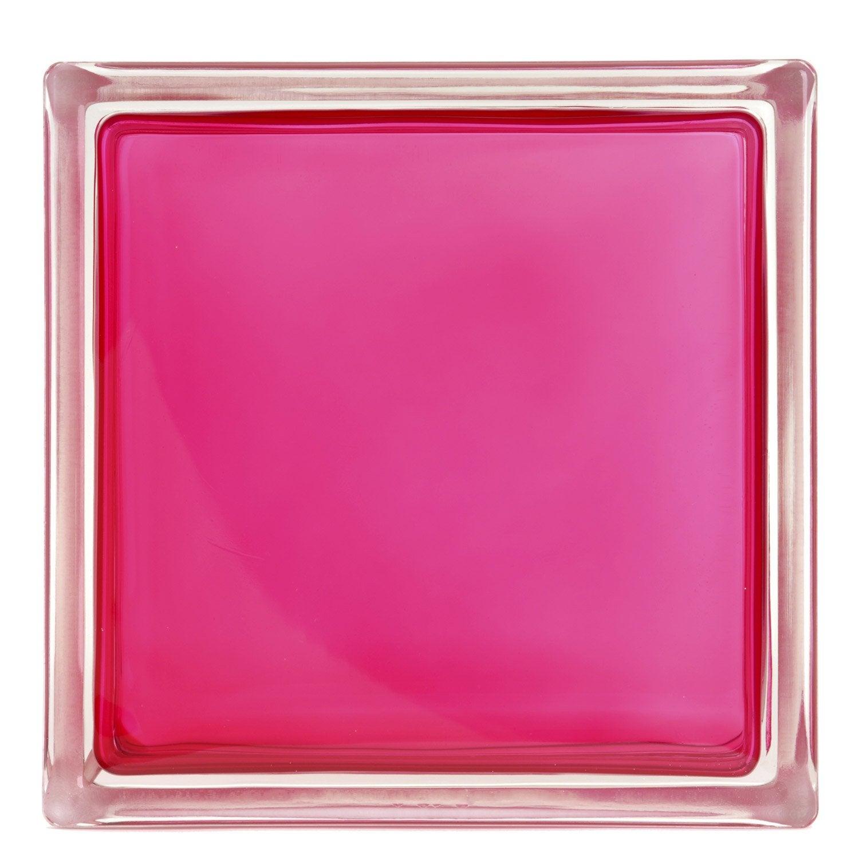 brique de verre standard lisse brillante rose shocking n. Black Bedroom Furniture Sets. Home Design Ideas