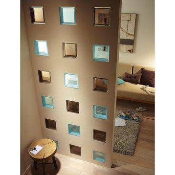 Brique de verre standard lisse brillante bleu atoll n 5 - Brique de verre couleur ...