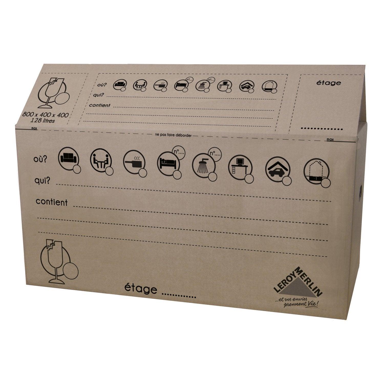 Carton de d m nagement 80x40x40cm 128l leroy merlin - Carton emballage leroy merlin ...